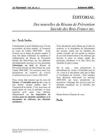 Volume 16, numéro 1 - Réseau de Prévention Suicide des Bois ...