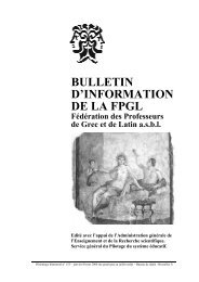 BULLETIN D'INFORMATION DE LA FPGL - Schule.at