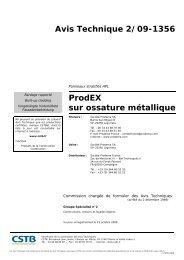 ProdEX sur ossature métallique - Présentation - Prodema