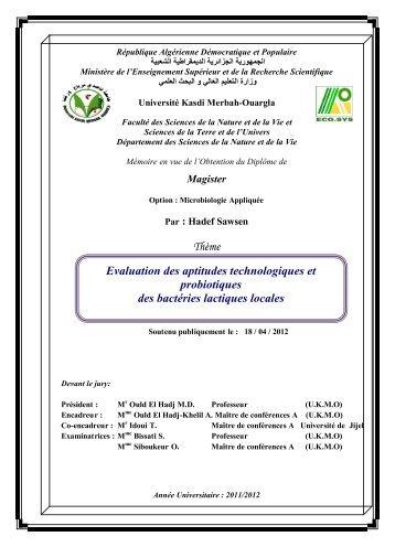 Evaluation des aptitudes technologiques et probiotiques des ...