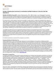Armtec Infrastructure annonce la nomination de Mark Anderson à ...