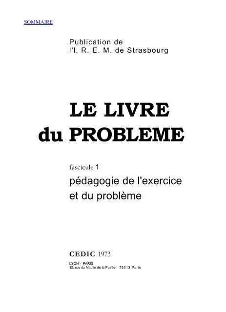 LE LIVRE du PROBLEME - IREM de Strasbourg