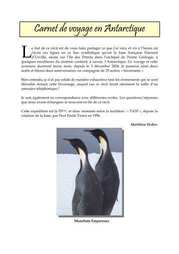 Carnet de voyage en Antarctique - Matthieu Weber