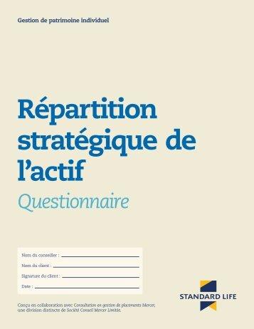 Répartition stratégique de l'actif - Questionnaire ... - Standard Life