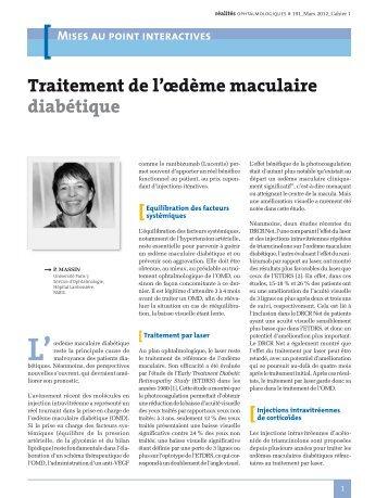 Traitement de l'œdème maculaire diabétique - Journées Interactives ...