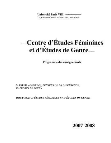 et d'Études de Genre - Université Paris 8
