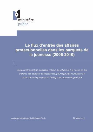 Le flux d'entrée des affaires protectionnelles dans les parquets de la ...