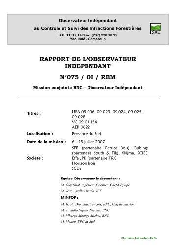 Rapport de Mission REM N°75 Cameroun - Observateur ...