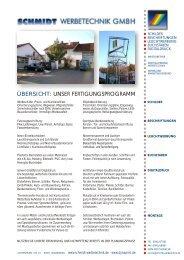 UNSER FERTIGUNGSPROGRAMM - Schmidt Werbetechnik GmbH