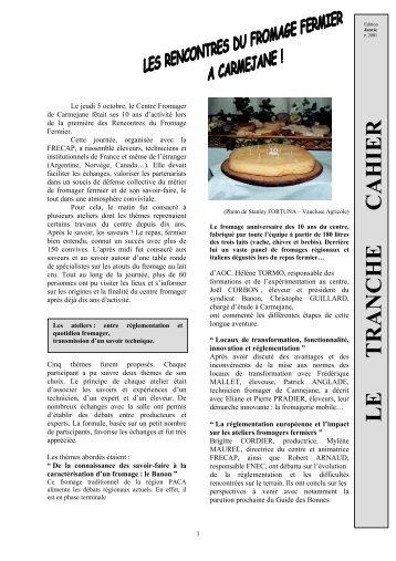 Les rencontres du Fromage Fermier à Carmejane - Centre ...