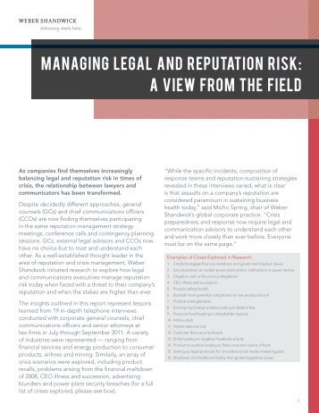 Managing Legal and Reputation Risk: A View ... - Weber Shandwick
