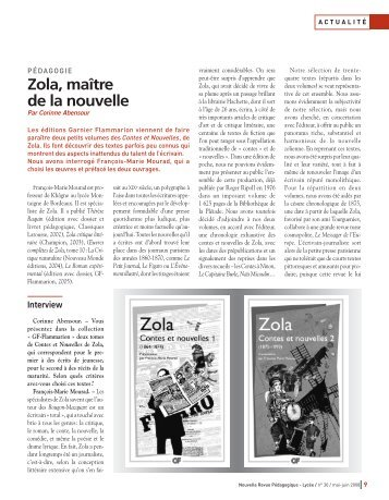 Zola, maître de la nouvelle - WebLettres