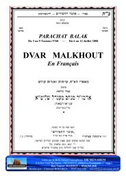 DVAR MALKHOUT - Hassidout
