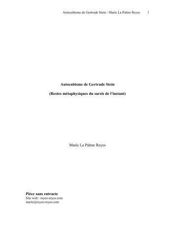 Autocubisme de Gertrude Stein - Marie La Palme Reyes