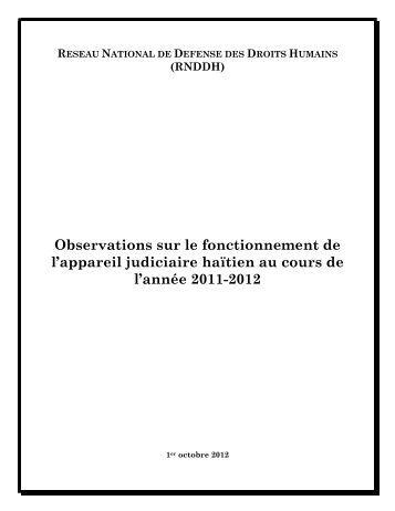 Observations sur le fonctionnement de l'appareil judiciaire haïtien ...