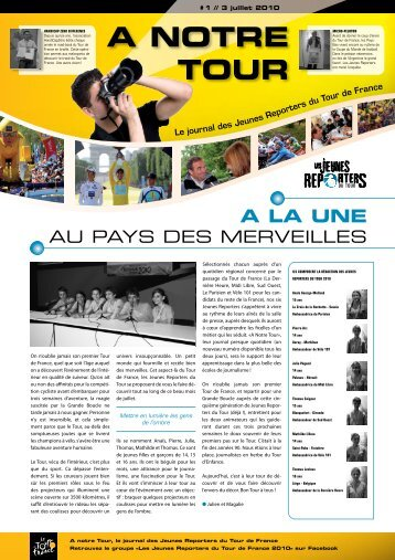 A Notre Tour : le journal des Jeunes Reporters n°1 - Tour de France