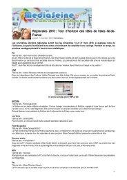 Régionales 2010 : Tour d'horizon des têtes de listes Ile-de- France