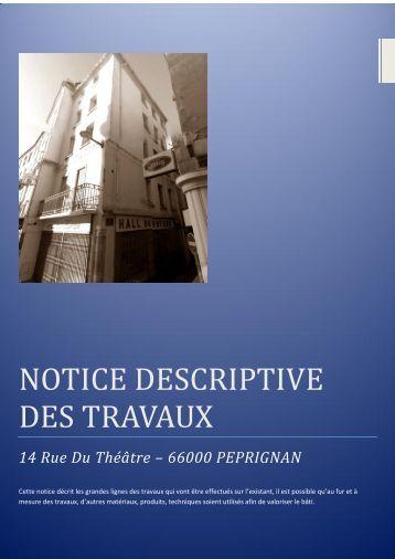 NOTICE DESCRIPTIVE DES TRAVAUX
