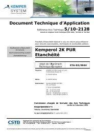 Télécharger le DTA du KEMPEROL 2K-PUR - KEMPER SYSTEM