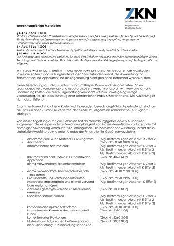 Berechnungsfähige Materialien § 4 Abs. 3 Satz 1 GOZ Mit den ...