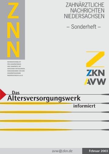 Altersversorgungswerk - Zahnärztekammer Niedersachsen
