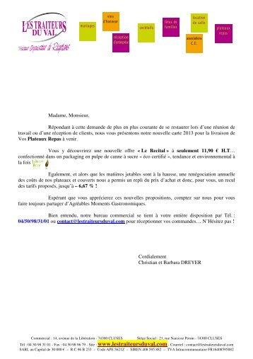 Carte Plateaux Repas - Les Traiteurs du Val