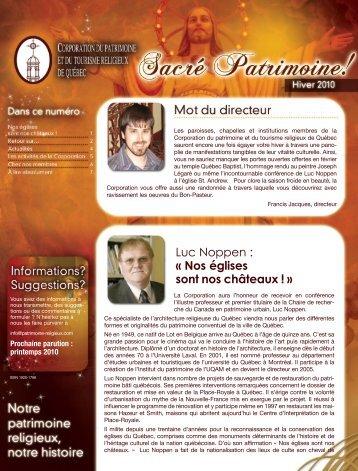 Bulletin hiver 2010 - Patrimoine et tourisme religieux du Québec