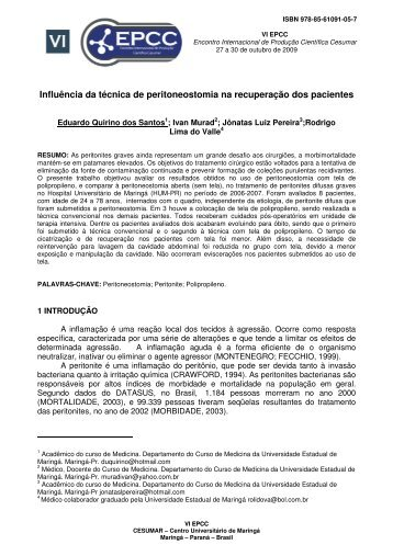 Influência da técnica de peritoneostomia na recuperação ... - Cesumar