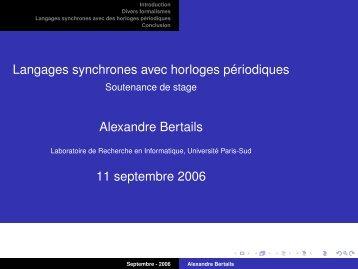 Langages synchrones avec horloges périodiques - Alexandre Bertails