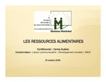 les ressources alimentaires - Le Regroupement inter-organismes ...