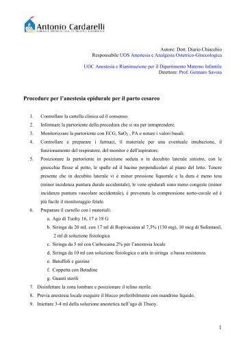 1 Procedure per l'anestesia epidurale per il parto cesareo