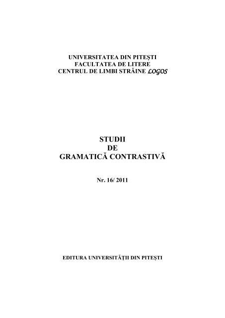 Studii De Gramatică Co Trastivă Universitatea Din Piteşti