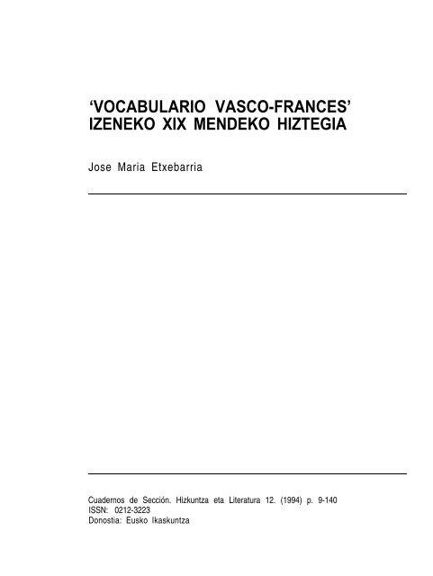 Vocabulario Vasco Frances Izeneko Xix Mendeko Hiztegia