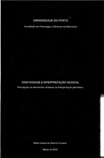 criatividade e interpretação musical - Repositório Aberto da ...