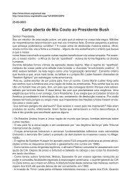Carta aberta de Mia Couto ao Presidente Bush - Web indipendente