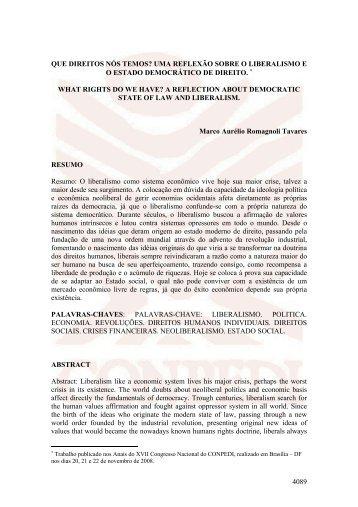 Marco Aurélio Romagnoli Tavares - QUE DIREITOS NÓS ... - Conpedi
