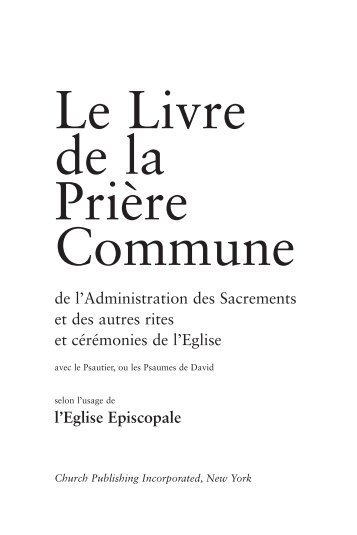 Le Livre de la Prière Commune - Church Publishing