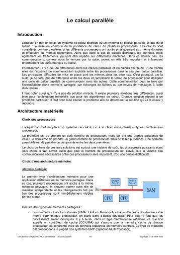 Le calcul parallèle - Le CETMEF