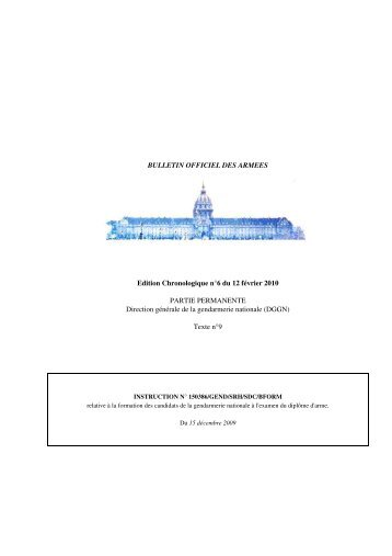 BULLETIN OFFICIEL DES ARMEES Edition Chronologique n°6 du ...