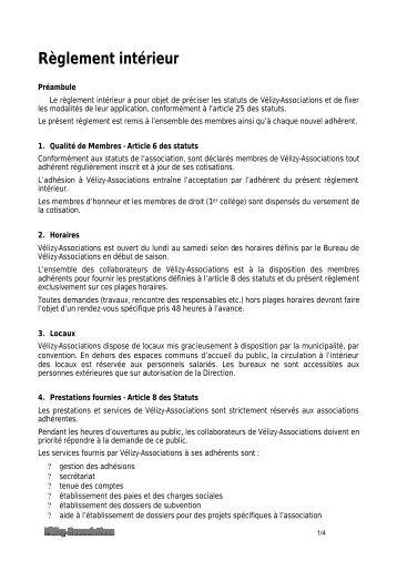 Reglement interieur titre i assemblee generale for Reglement interieur association sportive