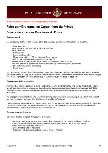 Faire carrière dans les Carabiniers du Prince - Palais Princier de ...