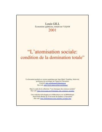 """""""L'atomisation sociale: - Les Classiques des sciences sociales - UQAC"""