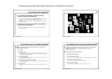 Le problème de la conscience - Cognitive Science Research Unit