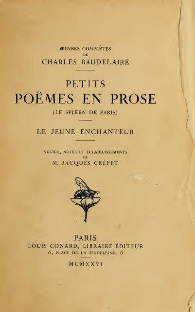 Petits Poèmes En Prose Le Spleen De Paris Le Jeune