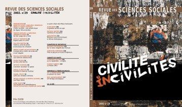 Civilité, incivilités - Revue des sciences sociales