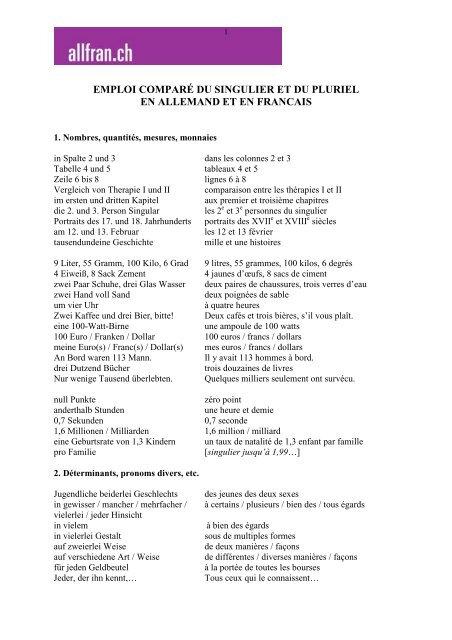 Emploi Compare Du Singulier Et Du Pluriel En Allemand Et En Francais
