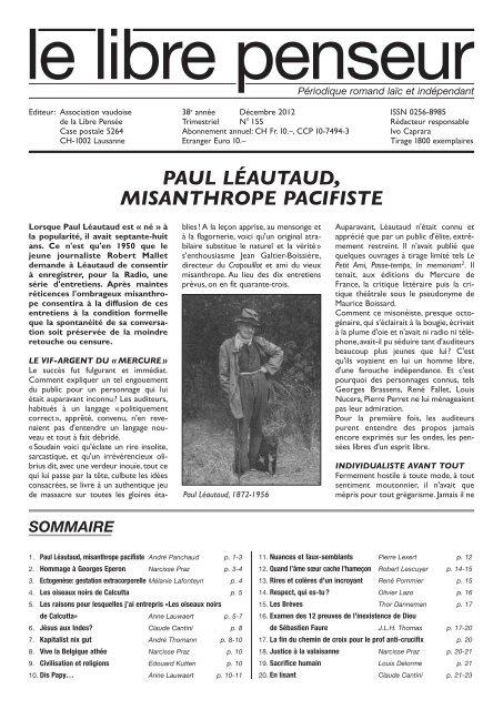 Paul Léautaud Misanthrope Pacifiste Association Suisse