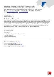 Pressemitteilung Nr. 31 - 1899 Hoffenheim