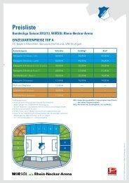 Preisliste Bundesliga Saison 2012/13, WIRSOL ... - 1899 Hoffenheim