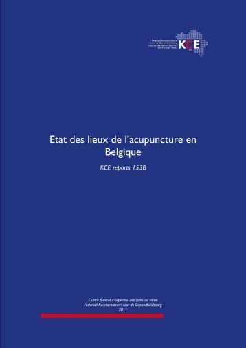 Etat de lieux de l'acupuncture en Belgique - KCE